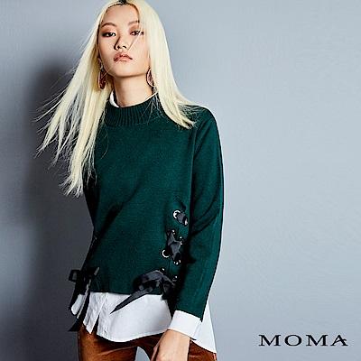 MOMA 雙開衩綁帶立領毛衣