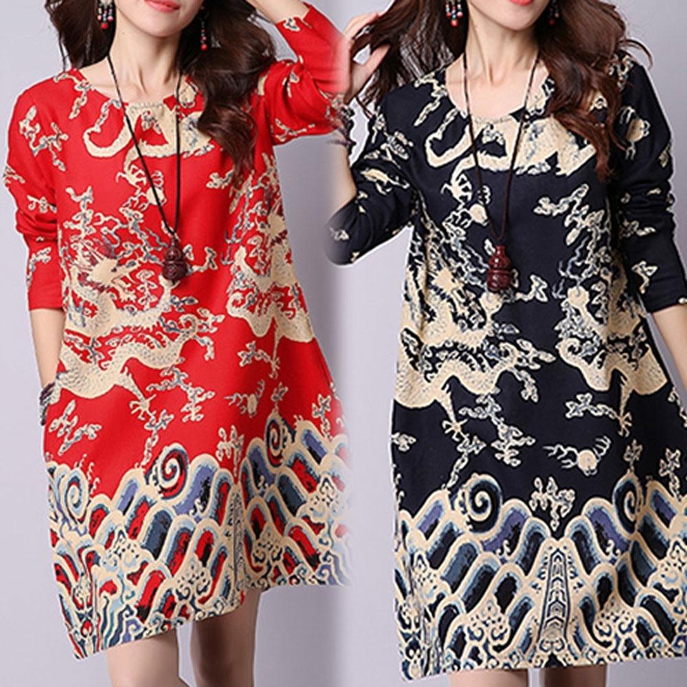 【韓國K.W.】典雅印花民族風寬鬆棉麻印花洋裝(兩色可選)