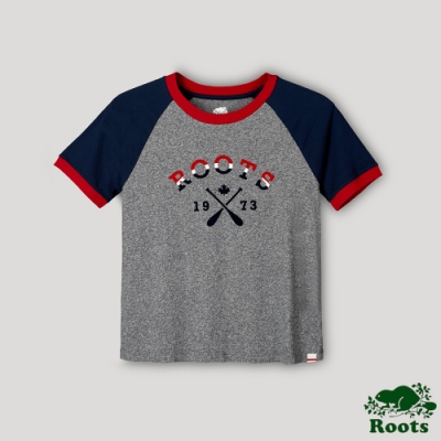 Roots 女裝- 湖畔小木屋系列 撞色LOGO短袖T恤-深灰