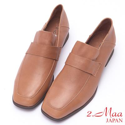 2.Maa 復古懷舊牛皮粗跟方頭包鞋 - 棕