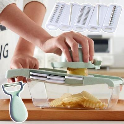 (2組裝)EZlife多功能切菜器刨絲九件組(贈精緻桌巾1入)
