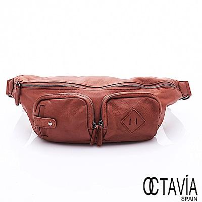OCTAVIA 8 真皮 - 都會探險家 軟牛皮雙口袋三角斜背包 -岳棕