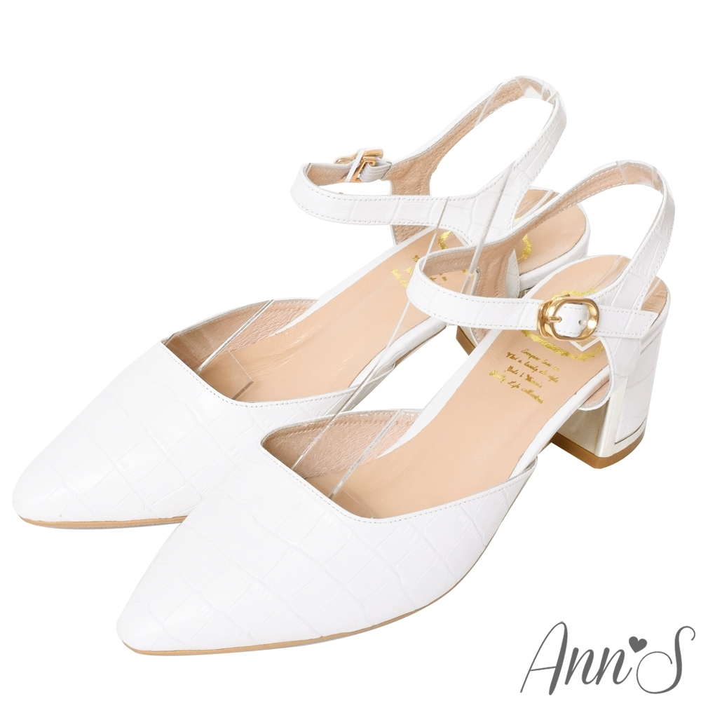 Ann'S擄獲芳心-羊皮鱷魚紋繫帶顯瘦V型線條金邊粗跟尖頭鞋-白