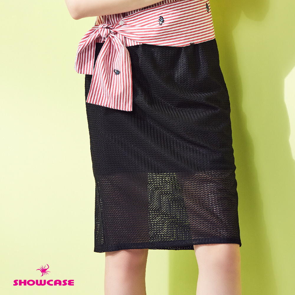 【SHOWCASE】V型網紗鬆緊帶透膚及膝窄裙(黑)