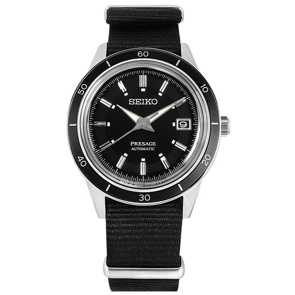 SEIKO 精工 PRESAGE 復刻60年代 機械錶 自動上鍊 尼龍帆布手錶-黑色/41mm