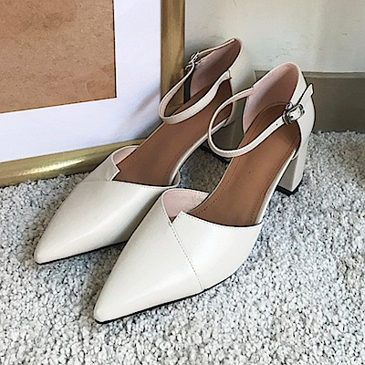 TMH-手工真皮粗跟高跟鞋
