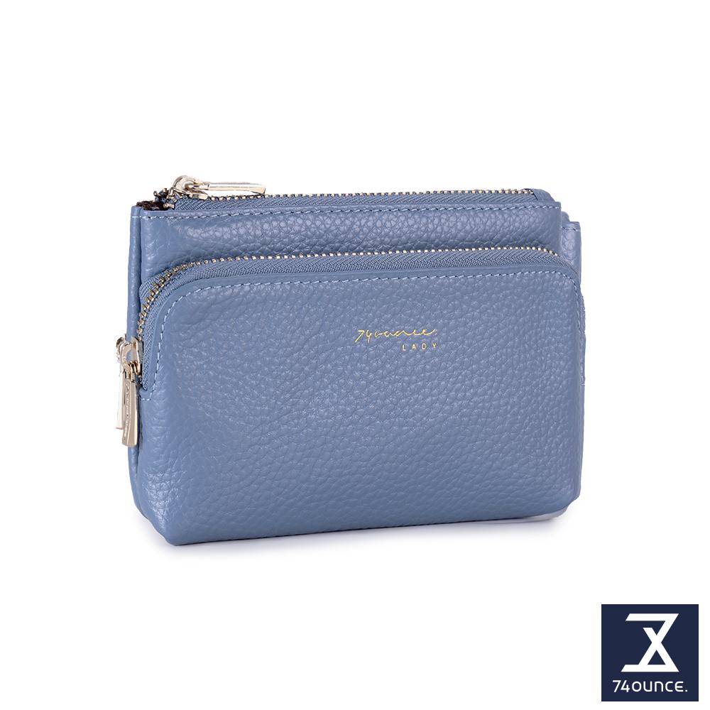 74盎司 Tender Lady真皮雙拉鍊零錢包[LN-750]水藍