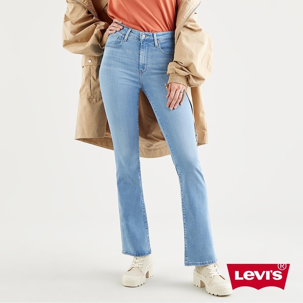 Levis 女款 725高腰合身靴型牛仔褲 精工輕藍染水洗 天絲棉
