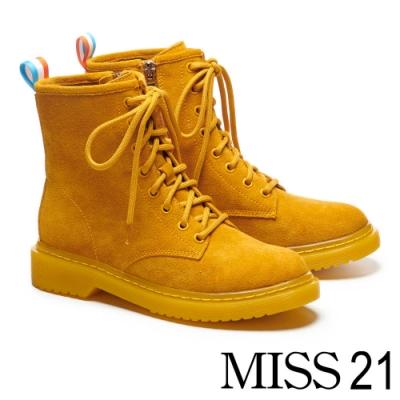 短靴 MISS 21 率性經典全真皮厚底馬汀馬丁短靴-黃