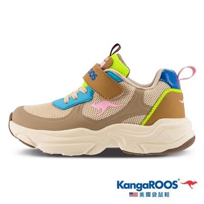 KangaROOS 童鞋 CASPO 科技 輕盈透氣 幻彩反光 運動鞋(卡其-KK11881)