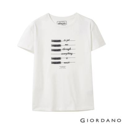 GIORDANO 女裝MUSIC系列印花短袖T恤- 41 皎雪