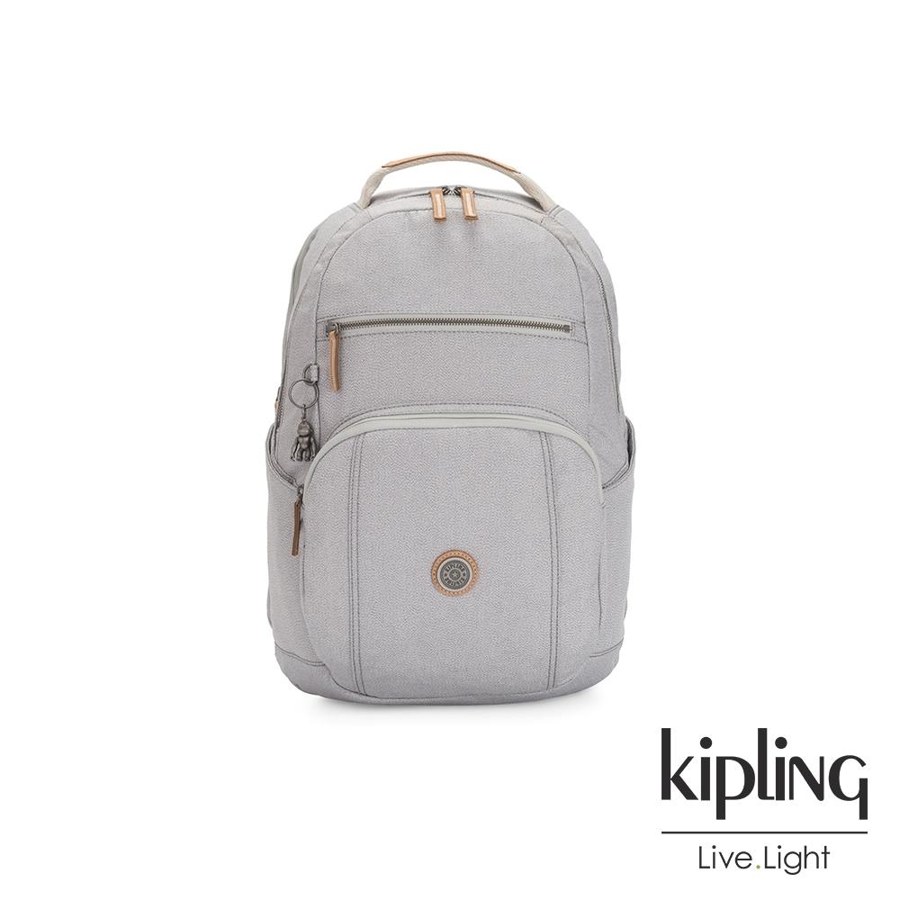 Kipling 邊緣地帶系列低調皮革質感霧灰前後雙層收納後背包-TROY
