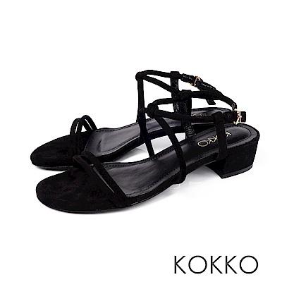 KOKKO - 女神降臨細帶真皮低跟涼鞋 -  經典黑