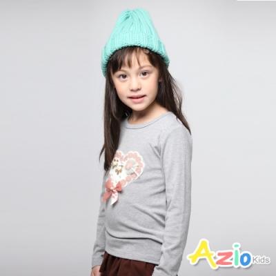 Azio Kids 女童 上衣 針織愛心蝴蝶結棉質長袖上衣(灰 )