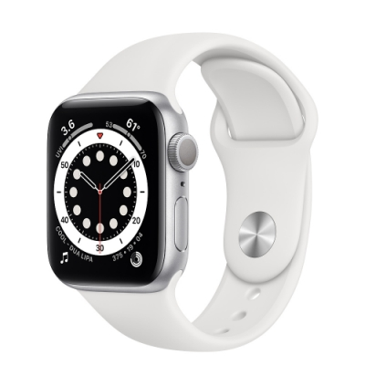Apple Watch Series 6 (GPS) 40mm 銀色鋁金屬錶殼+白色錶帶(MG283TA/A)