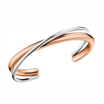 CALVIN KLEIN Double 系列優雅双弧玫瑰金手環-S