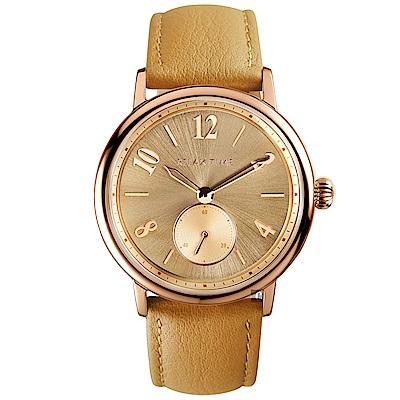 RELAX TIME Retro lady 復古甜美小秒針套錶-玫塊金框x咖啡/38mm