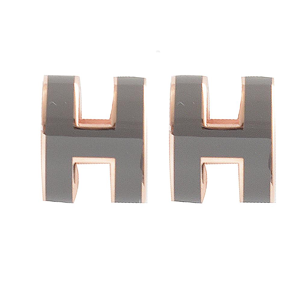 HERMES H POP款LOGO圓弧型耳針式耳環(灰/玫瑰金)