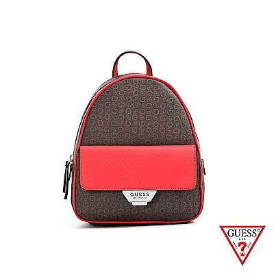 GUESS-女包-復古滿版LOGO雙色後背包-紅 原價3090