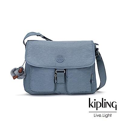 Kipling 沉靜灰藍翻蓋素面肩背包-NEW RITA