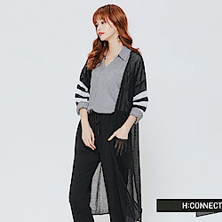 H:CONNECT 韓國品牌 女裝 - 透膚條紋袖開襟外套-黑(快)
