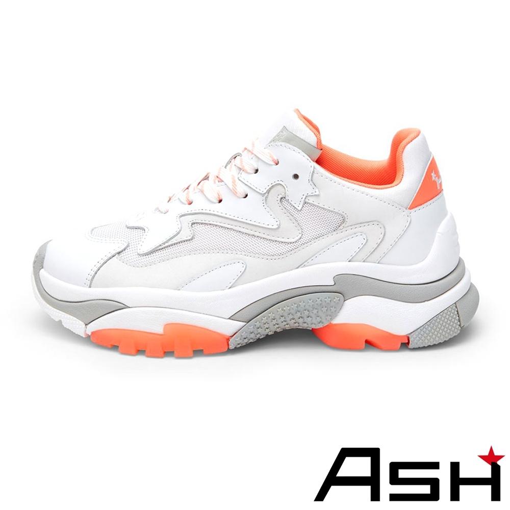 ASH-ADDICT系列潮流休閒運動拼色增高老爹鞋-珊瑚橘