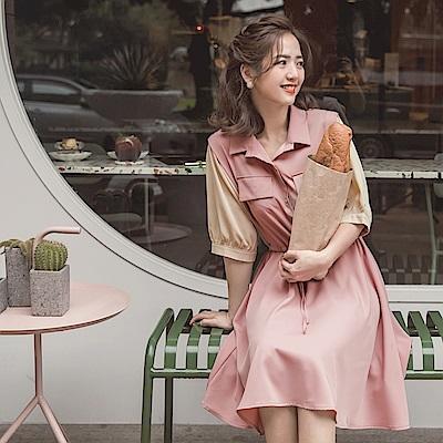 iMODA STAR-臧芮軒。不易皺甜美配色排釦收腰綁帶襯衫領傘襬洋裝