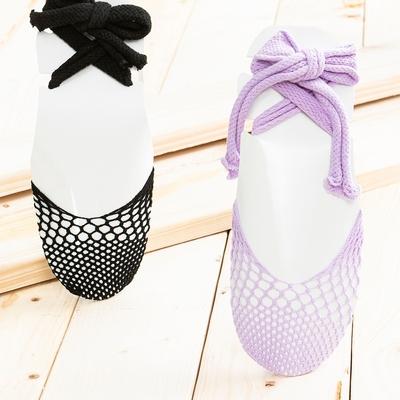 【百貨週年慶暖身 全館5折起-生活工場】仿古紫色網狀綁帶襪