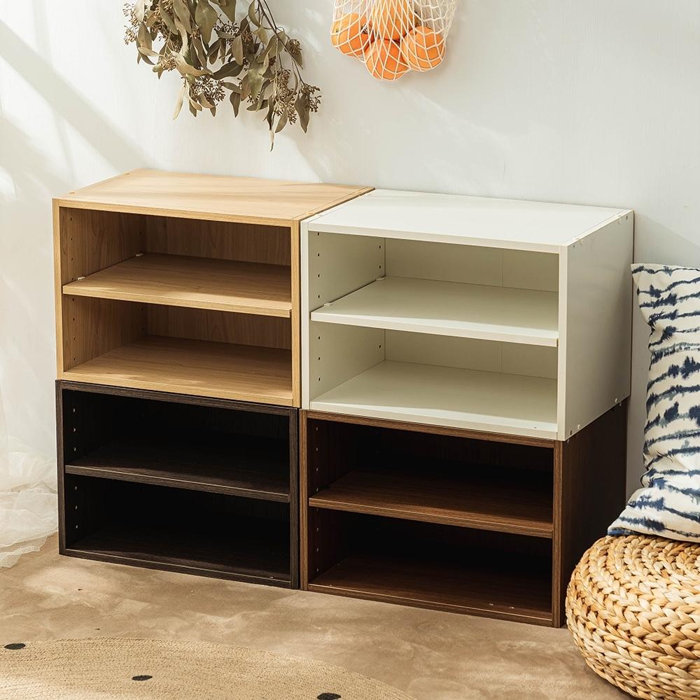 樂嫚妮 收納櫃/二層空櫃/書櫃/層板置物櫃-4色-42X28.2X28.8cm