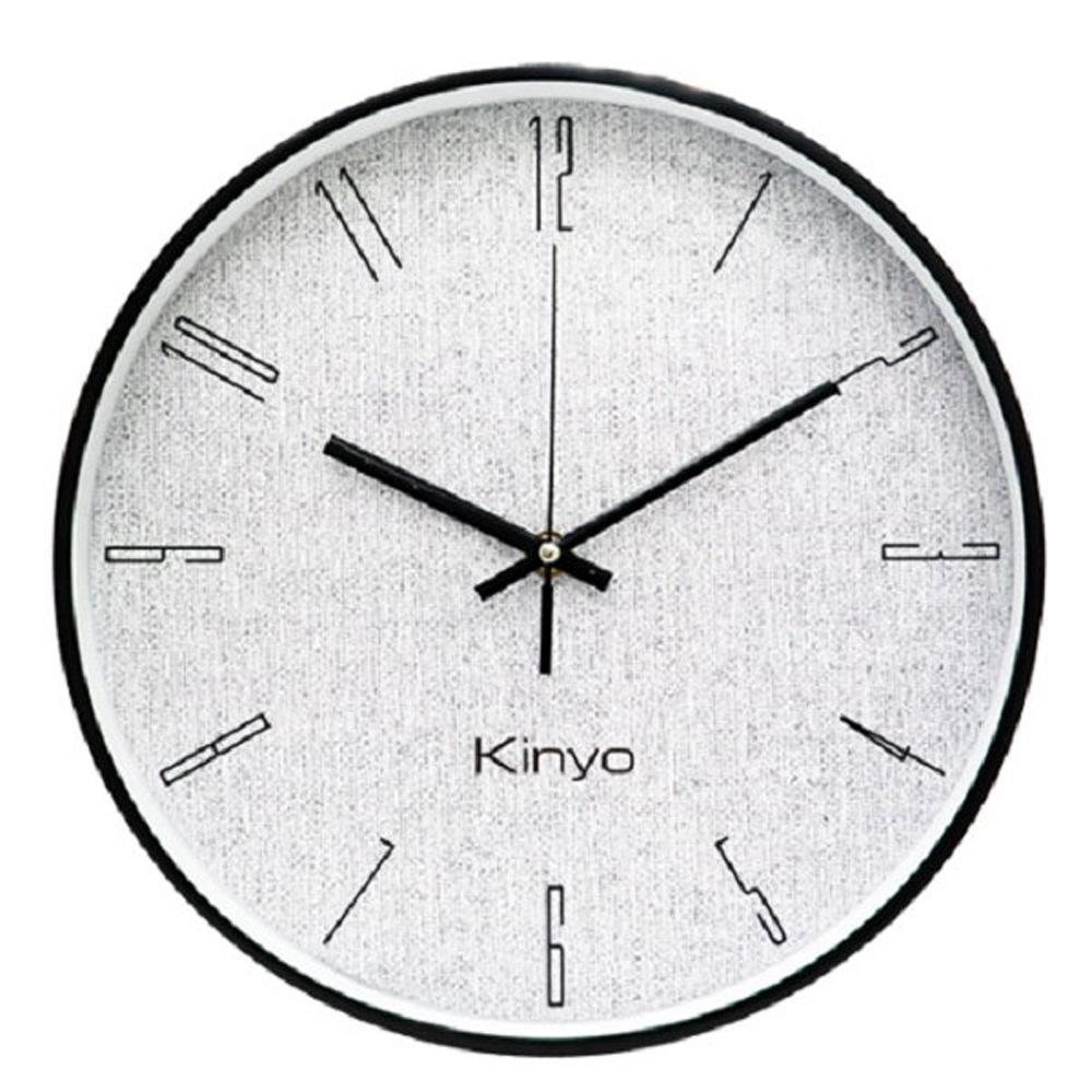 KINYO 12吋簡約布紋靜音掛鐘(顏色隨機)