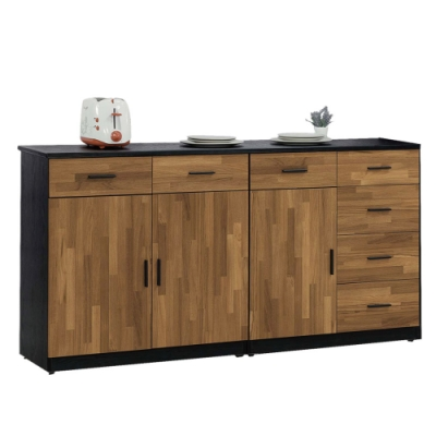 文創集 麥波三門七抽5.3尺黑岩石面餐櫃/收納櫃-160.2x41x84.5cm免組