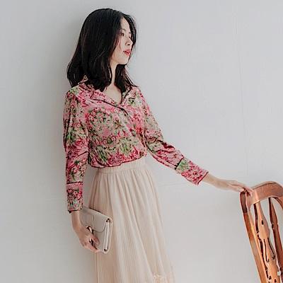 韓系絲絨緞面復古印花長袖襯衫-OB大尺碼