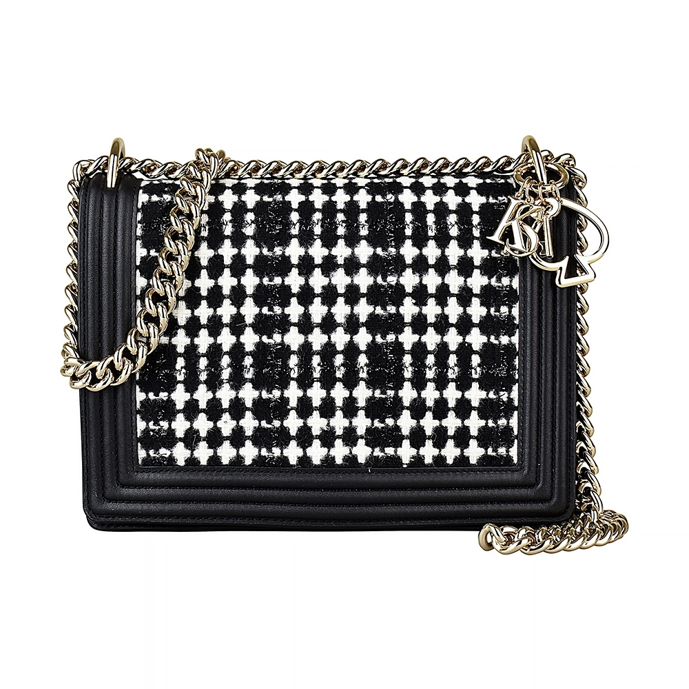 Kate Spade黑桃LOGO織布鏈帶扣式斜背包(黑/白)