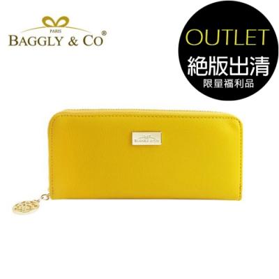 [福利品]【BAGGLY&CO】精品質感皮革拉鍊長夾(黃色)(絕版出清)