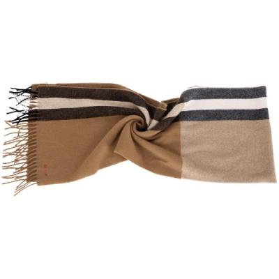 BALLY Trainspotting 雙色條紋混紡羊毛流蘇圍巾(駝色)
