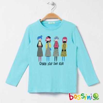 bossini女童-印花長袖T恤06水藍色