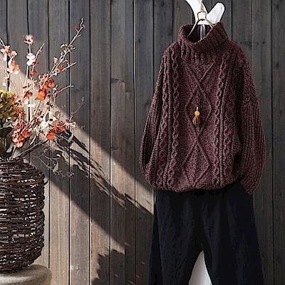 花色菱紋套頭針織寬鬆高領毛衣-Y1704-設計所在