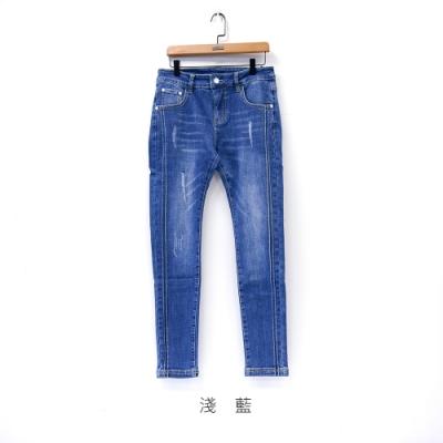 gozo 微刷破雙壓線牛仔褲(二色)