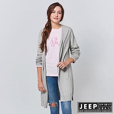 JEEP 女裝 造型圖騰刺繡長版針織外套 -灰色