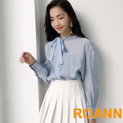 文藝蝴蝶結微透膚長袖襯衫 (共二色)-ROANN