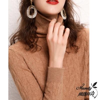 Mandy國際時尚 長袖上衣 秋 堆堆領線條花紋高領針織毛衣(5色)
