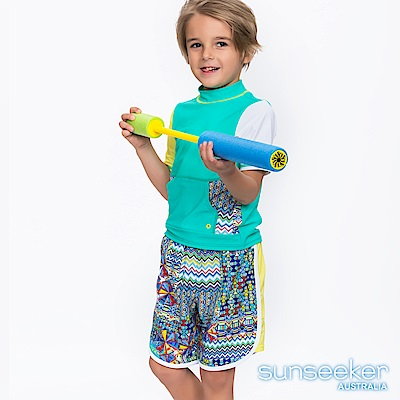 澳洲Sunseeker泳裝抗UV防曬短袖泳衣+泳褲兩件式-小男童/幾何湖綠