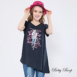 Betty Boop貝蒂 膠印貝蒂斜邊剪裁長版柔棉上衣(共兩色)