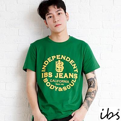 ibs品牌字母印花T-男-綠