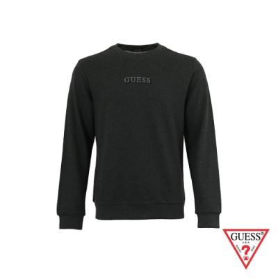 GUESS-男裝-簡約素面雙刺繡LOGO大學T-深灰 原價2990