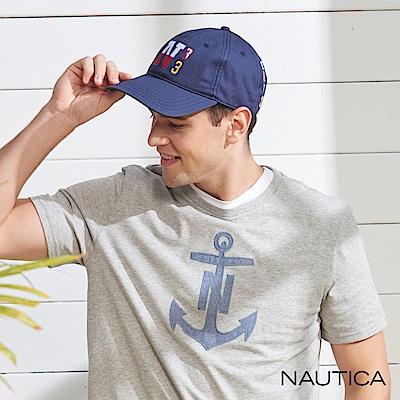 Nautica雙色品牌LOGO休閒帽-藍色