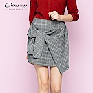 OUWEY歐薇 裝飾綁結格紋褲裙(灰)