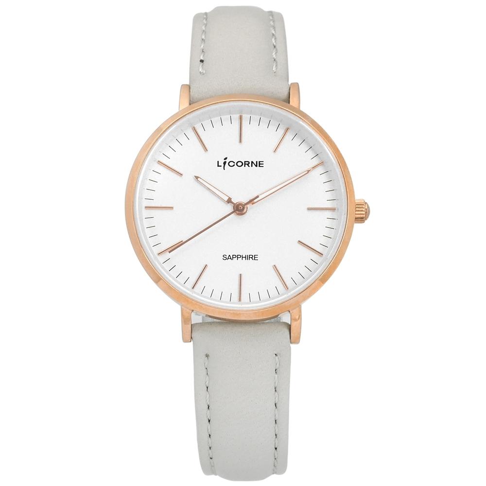 LICORNE 力抗 典雅 藍寶石水晶玻璃 夜光指針 真皮手錶-白x玫瑰金框x灰/32mm