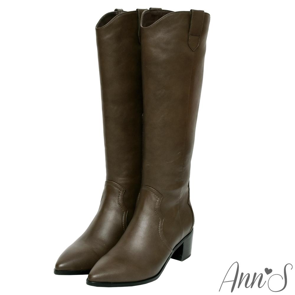Ann'S窄版復古皮革-超修身V口顯瘦粗跟西部及膝長靴-可可