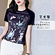 艾米蘭-韓版甜美氣質百搭印花圓領造型上衣-黑色(M-XL) product thumbnail 1
